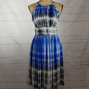 Maggy London Blue, Gray, & White Halter Dress